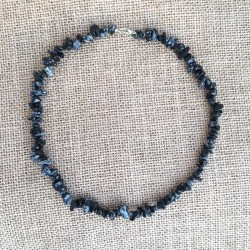 Obsidian Snowflake Necklace Natural Stone Chips
