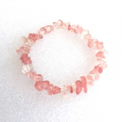 Cherry Quartz Crystal Stone Chips Bracelet