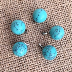 Turquoise Blue Gemstone Ball Pendant
