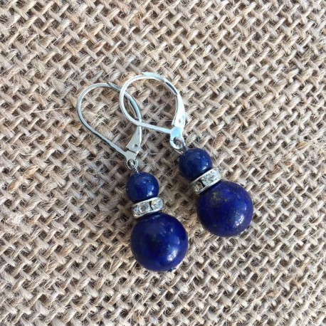 Lapis Lazuli Silver Earrings with leverback clasp