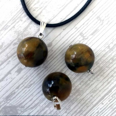 Jasper Picasso Gemstone Ball Pendant & Leather Necklace