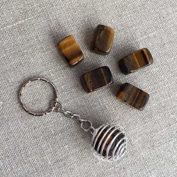 Tiger Eye Gemstone Spiral Keyring Pendant
