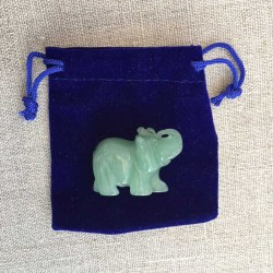 Elephant Jade gemstone figure in velvet pouch