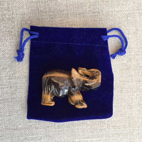 Elephant Tiger Eye gemstone figure in velvet pouch