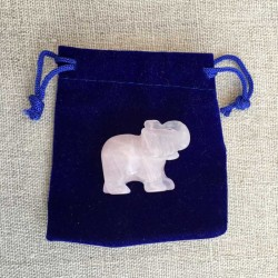 Elephant Rose Quartz gemstone figure in velvet pouch