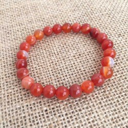 Carnelian Bracelet 8mm Gemstone Beads