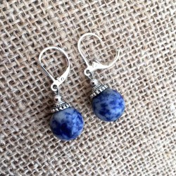 Sodalite Ball Earrings Silver Plated Leverbacks