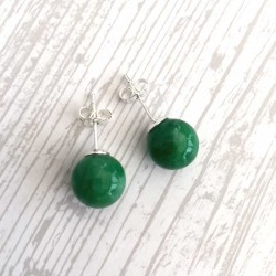 Jadeite Green jade Silver Stud Earrings