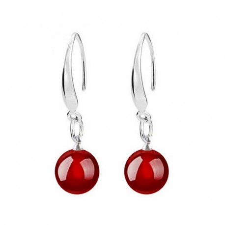 Jade Red Silver Earrings 10mm gemstone beads