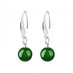 Jade Green Silver Earrings 10mm gemstone beads