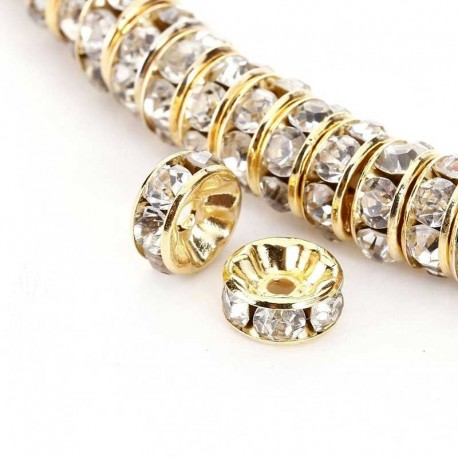 Czech Crystal Rhinestone spacer beads rondelle gold plated