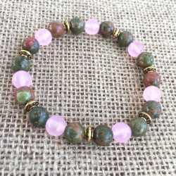 Fertility Gemstone Bracelet Unakite / Rose Quartz