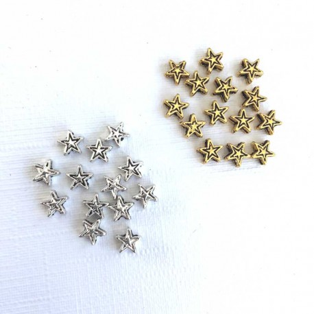 Stars spacers gold & silver color