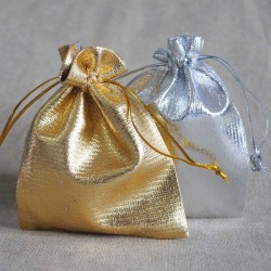 Jewellery pouch gold / silver drawstring 10x15cm