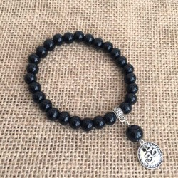 Mala Bracelet 27 Agate Black Gemstone Beads