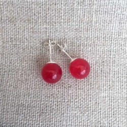 Jade Red Silver Stud Earrings 10mm beads