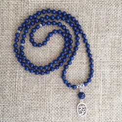 Mala 108 Lapis Lazuli Gemstone Beads Aum Necklace