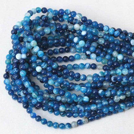 Blue Striped Agate Beads Natural Stone