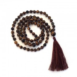 Mala Necklace 108 Tiger Eye Gemstone Beads 6mm
