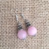 Rose Quartz Gemstone & Tibetan Silver Earrings