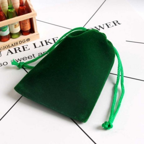 Drawstring Velvet Pouch Green 9x12cm Jewelry Bag