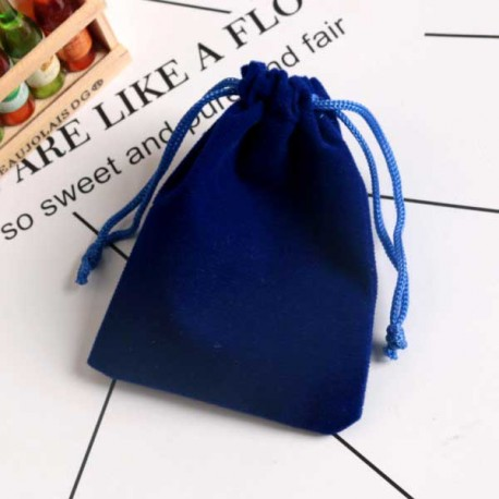 Drawstring Velvet Pouch Blue 9x12cm Jewelry Bag