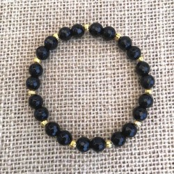 Agate Black Bracelet 8mm Faceted Beads