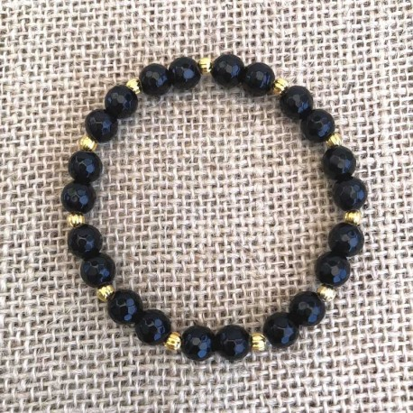 Armbånd Agat sort sten faceted Natural Agate Gemstone Bracelet