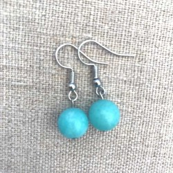 Amazonite Blue Gemstone Earrings Silver Plated