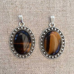 Tiger Eye Oval Pendant Antique Silver Handmade