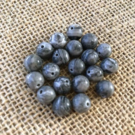 Map Stone Beads Gray Picture Jasper