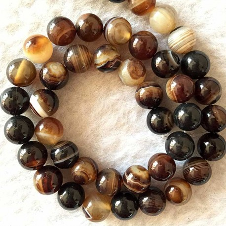 Coffee Brown Striped Agate Beads Natural Stone