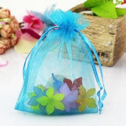 Blue Jewellery Pouch Organza Bag 7x9cm drawstring