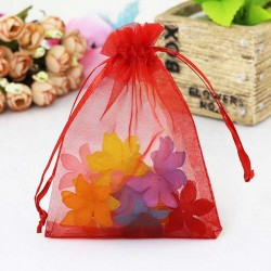 Red Jewellery Pouch Organza Bag 7x9cm drawstring