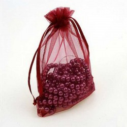 Wine Red Jewellery Pouch Organza Bag 9x12cm drawstring