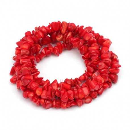 Red Coral Gemstone Chips 40cm Strand DIY jewelry