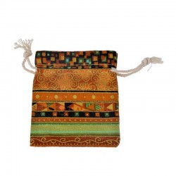 Jewelry Cotton Ethnic Pouch Drawstring 8x10cm