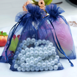 Dark Blue Jewellery Pouch Organza Bag 9x12cm drawstring