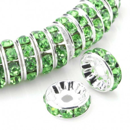 Czech Crystal Green Rhinestone spacer beads rondelle silver plated