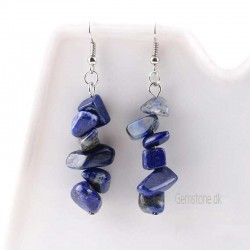 Lapis Lazuli Gemstone Chips Earrings Silver Plated
