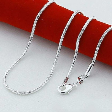 Silver snake necklace 60cm with clasp