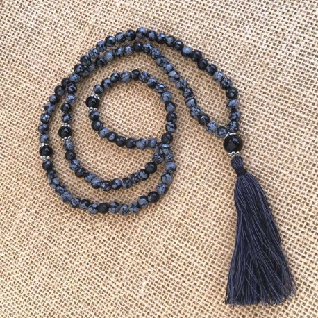 Mala Necklace Obsidian Snowflake 108 gemstone beads