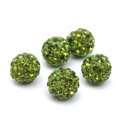 Pavé Crystal Beads Green Rhinestone 10mm DIY Jewelry