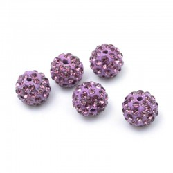 Pavé Crystal Beads Purple Rhinestone 10mm DIY Jewelry