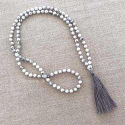 Mala Necklace 108 Howlite White Turquoise Gemstone Beads