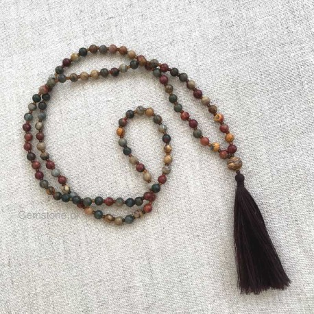 Mala Jasper Picasso 108 beads prayer necklace