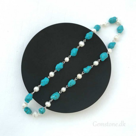 Turquoise & Freshwater Perls Silver Plated Necklace Magnet Clasp