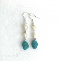 Freshwater Pearls & Turquoise Earrings 925 Silver
