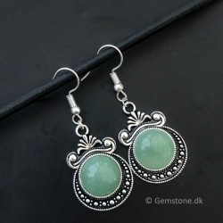Aventurine Green Earrings Antique Silver Style