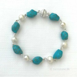 Turquoise & Freshwater Pearls Bracelet Silver Plated Magnet Clasp